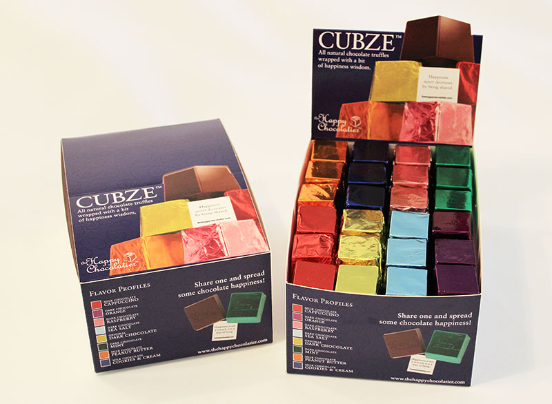 cubed truffle, cubze, chocolate, point of sale, wholesale