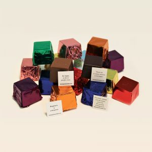 cubed truffle, cubze, happiness, colorful, milk chocolate, dark chocolate