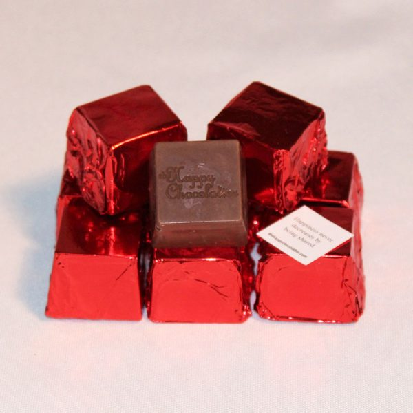 milk chocolate, coffee, cappuccino, cubed truffle, cubze, red