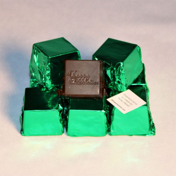 dark chocolate, mint, cubed truffle, cubze, green