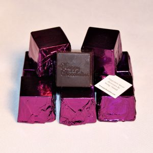dark chocolate, orange, cubed truffle, cubze, purple