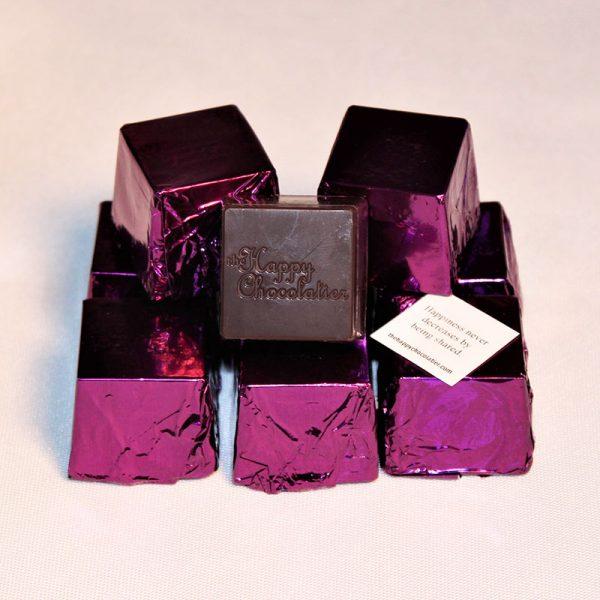 dark chocolate, orange, cubed truffle, cubze, purple