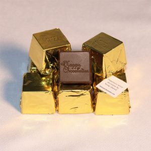 dark chocolate, cubed truffle, cubze, gold