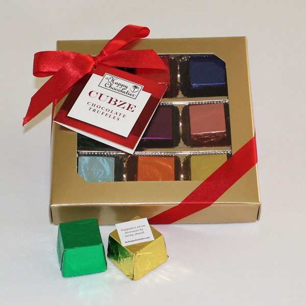 cubed truffle, cubze, gift box, chocolate, holiday