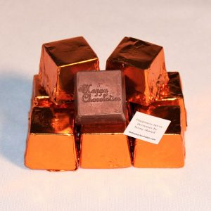 milk chocolate, peanut butter, cubed truffle, cubze, orange