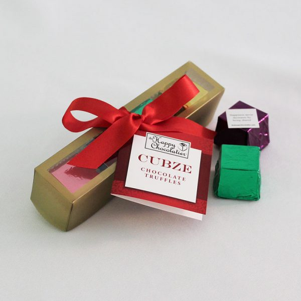 cubed truffle, cubze, holiday gift, chocolate