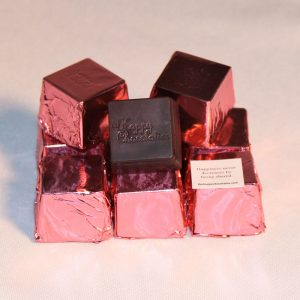 dark chocolate, raspberry, cubed truffle, cubze, pink