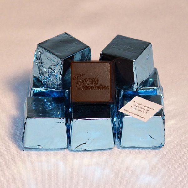 dark chocolate, sea salt, cubed truffle, cubze, light blue