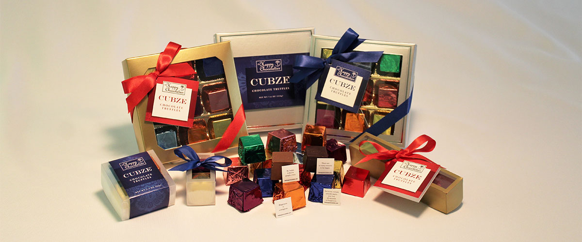 cubed truffles, cubze, chocolate, gift box