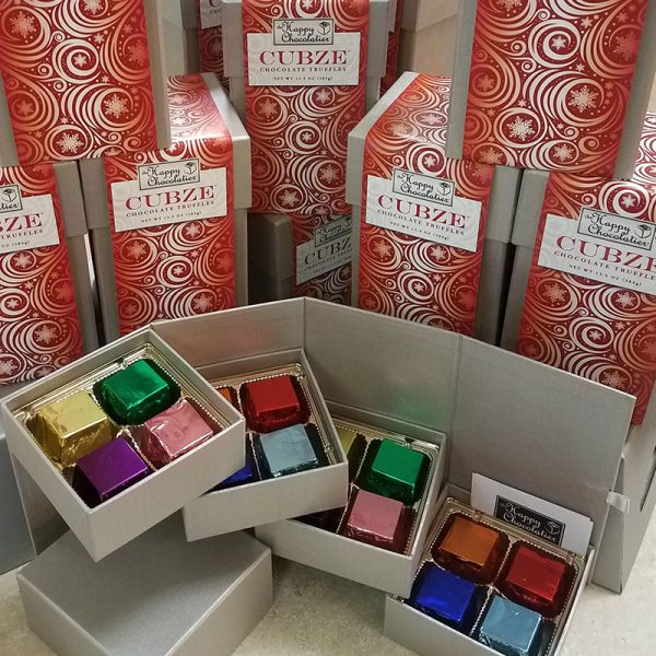 cubed truffle, cubze, chocolate, gift box, holiday