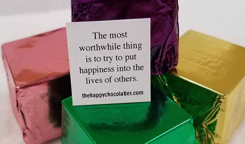 cubed truffle, cubze, happy, happiness, colorful, dark chocolate, milk chocolate