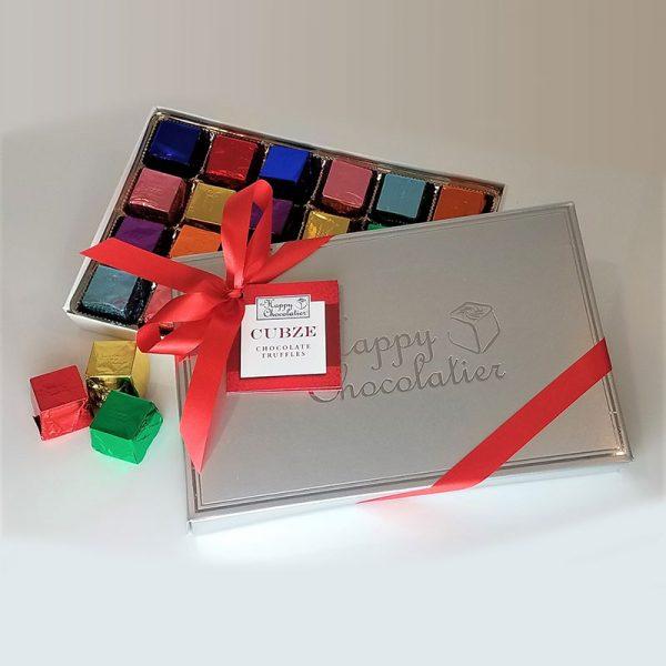 cubed truffle, cubze, chocolate, holiday gift box