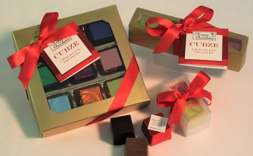cubed truffle, cubze, chocolate, holiday gift, hostess gift